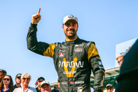 James Hinchcliffe, driver of the SPM Arrow No. 5 Indy car, celebrating last weekend after winning th ...