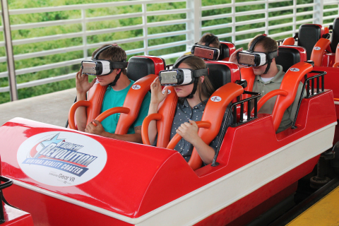 Riders wearing Samsung Gear VR powered by Oculus, find themselves in the copilot seat of a fighter j ...