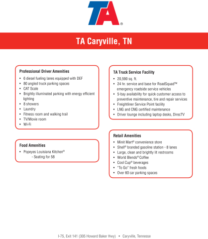 TA Caryville Specification Sheet (Graphic: Business Wire).