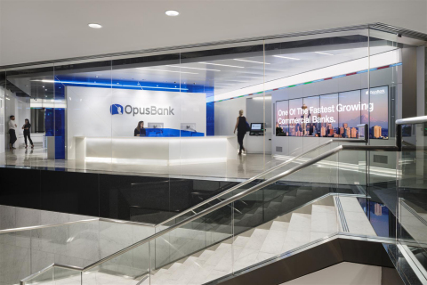 Opus Bank's Headquarters Banking Office Wins Prestigious IIDA Calibre Design Award (Photo: Business Wire)