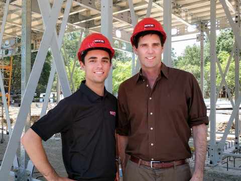 Charles Bovet, Vice President of BONE Structure, U.S., and Mark Jacobson, Professor of Civil and Environmental Engineering and Director of Atmosphere and Energy Program at Stanford University in Jacobson's new Zero Net Energy (ZNE) home under construction in Stanford, CA. (Photo: Business Wire)