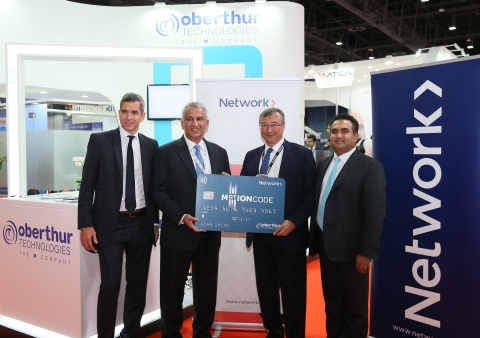 Network International selects OT's MOTION CODE™ solution to secure online transactions in the Middle East & Africa. Picture from Cards & Payments Middle East trade show, with Frédéric Beylier, Chief Operating Officer at OT, Bhairav Trivedi, Chief Executive Officer at Network International, Eric Duforest, M-BU Managing Director Financial Services Institutions at OT and Muzaffar Khokhar, Regional President for Russia, Middle-East and Africa at OT (Photo: Business Wire)