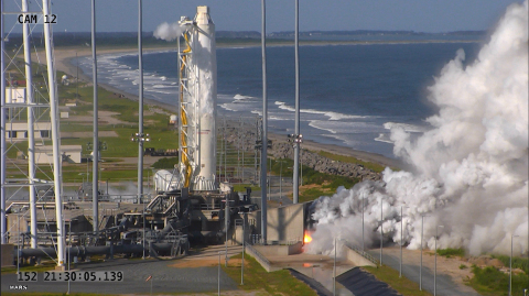 """Orbital ATK conducted a full-power """"hot fire"""" test of the upgraded first stage propulsion system of its Antares medium-class rocket using new RD-181 main engines today at NASA's Wallops Flight Facility. Preliminary data points to a successful test with final results pending a full review. (Photo: Business Wire)"""