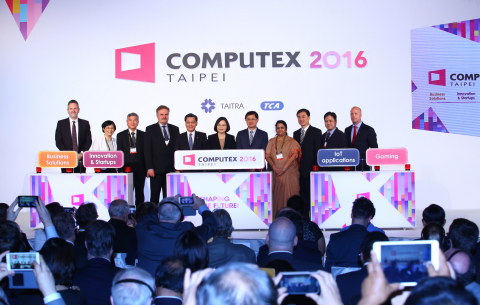 The COMPUTEX opening ceremony attended by Taiwan President Tsai Ing-wen, Deputy Economics Minister Shen Jong-chin, TAITRA (Taiwan External Trade Development Council) Chairman Francis Liang and TCA (Taipei Computer Association) President Tung Tsu-hsien. (Photo: Business Wire)