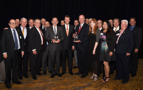 Mouser Electronics has received the 2015 Distributor of the Year Award from Amphenol Industrial and the 2015 Best Global Performance Award with TTI, Inc., from Amphenol Corporation. Pictured from left to right are Amphenol, Mouser and TTI representatives: Richard Jacobs (Amphenol), Zak Raley (Amphenol), Phil Gallagher (President, TTI Americas), Martin Booker (Amphenol), Kenny Vigil (TTI), Luc Walter (Amphenol), Lew LaFornara (TTI), Glenn Smith (President & CEO, Mouser), Ryan Fisher (Amphenol), Adam Norwitt (President & CEO, Amphenol), Eric Rushbrook (Amphenol), Mike Morton (President, TTI Global Sales and Marketing), Peter Straub (Amphenol), Rick Schneider (Amphenol), Elizabeth Guerrero (Mouser), Keith Privett (Mouser), Gina Garza (Mouser), Robert Pokrzywa (Amphenol), Don Freeman (TTI), Cindy Weir (TTI) and Greg Straiton (Amphenol). (Photo: Business Wire)