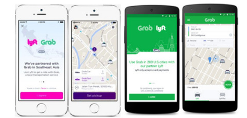 Grab-Lyft Integration Welcome and Booking Screens: GrabCar and GrabTaxi, Lyft and Lyft Plus rides will be available to U.S. and SEA travelers. (Photo: Business Wire)