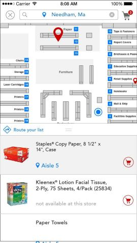 Interactive store map on Staples iPhone app (Graphic: Business Wire)