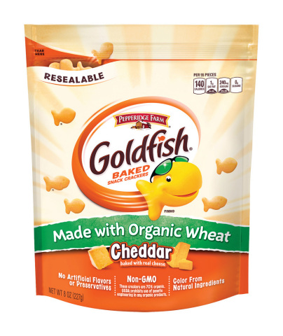 Goldfish Made with Organic Wheat are available nationally and come in three delicious flavors: Cheddar, Parmesan and Saltine. (Photo: Business Wire)