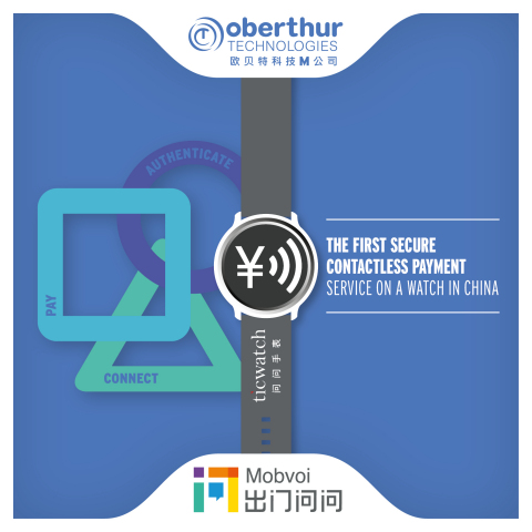 OT partners with Mobvoi and CUP to launch the first secure contactless payment service on Ticwatch in China (Photo: Business Wire)