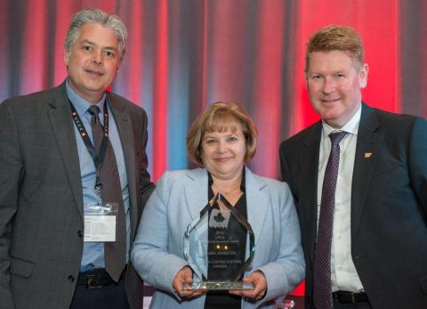 Left to right: Darrin Noble (CPCA Board Member), Laura Johnston (Axalta Canada Technical and Regulatory Manager), Tim Vogel (CPCA Board Chair) (Photo: Axalta)
