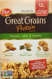 Post Consumer Brands Voluntarily Recalls Limited Quantity of Great Grains Protein Blend - Honey, Oats & Seeds Cereal Due to Possible Listeria Contamination (Photo: Business Wire).