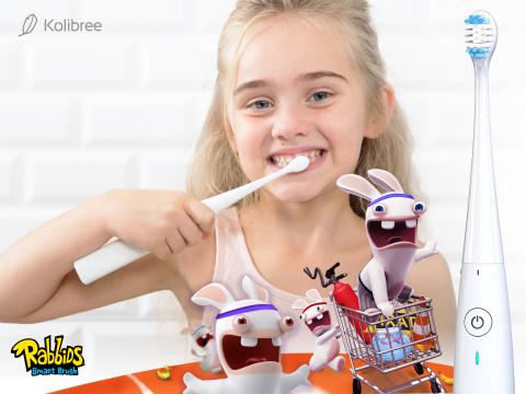 Kolibree toothbrush and Rabbids Smart Brush app help children improve tooth brushing habits to prevent cavities. (Photo: Business Wire)