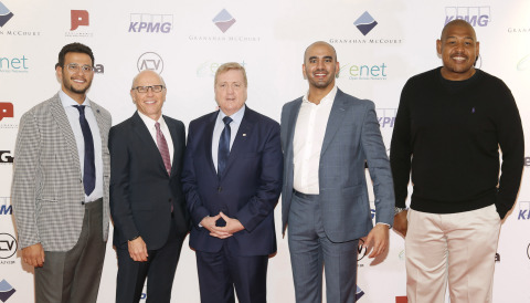 ALTV – where the arts meets technology. Pictured left to right: Prince Bandar Al Saud, David McCourt chairman and CEO of Granahan McCourt, Pat Breen TD Minister for Employment and Small Business, Omar Talib, Co-Founder & Managing Partner at Crescent Technologies and Hollywood actor Omar Miller at the launch of ALTV (Photo: Business Wire)