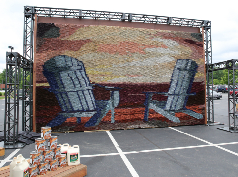 OLYMPIC® Paints & Stains today was officially awarded the GUINNESS WORLD RECORDS® title for Largest Paintbrush Mosaic in Charlotte, NC. (Photo: Business Wire)
