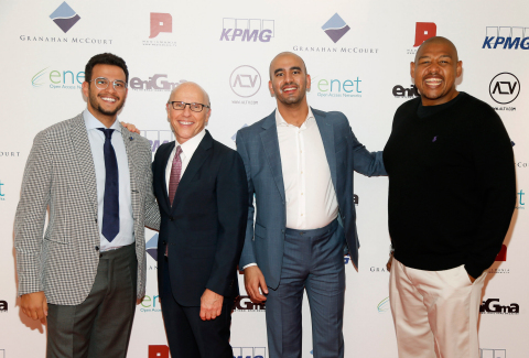 Prince Bandar Al Saud, David McCourt chairman and CEO of Granahan McCourt, Omar Talib and Hollywood actor Omar Miller at the launch of ALTV (Photo: Business Wire)