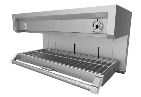 Hestan's longitudinal modular salamander and shelving system can be hung without permanent hardware by means of unique, hook-like brackets of heavy-duty steel for optimum rigidity and durability. This modular system, which can be switched from salamander to cheesemelter and back again, is supported longitudinally on a riser to allow complete horizontal movement – giving it the flexibility to be placed anywhere on the line for maximum functionality. (Photo: Business Wire)