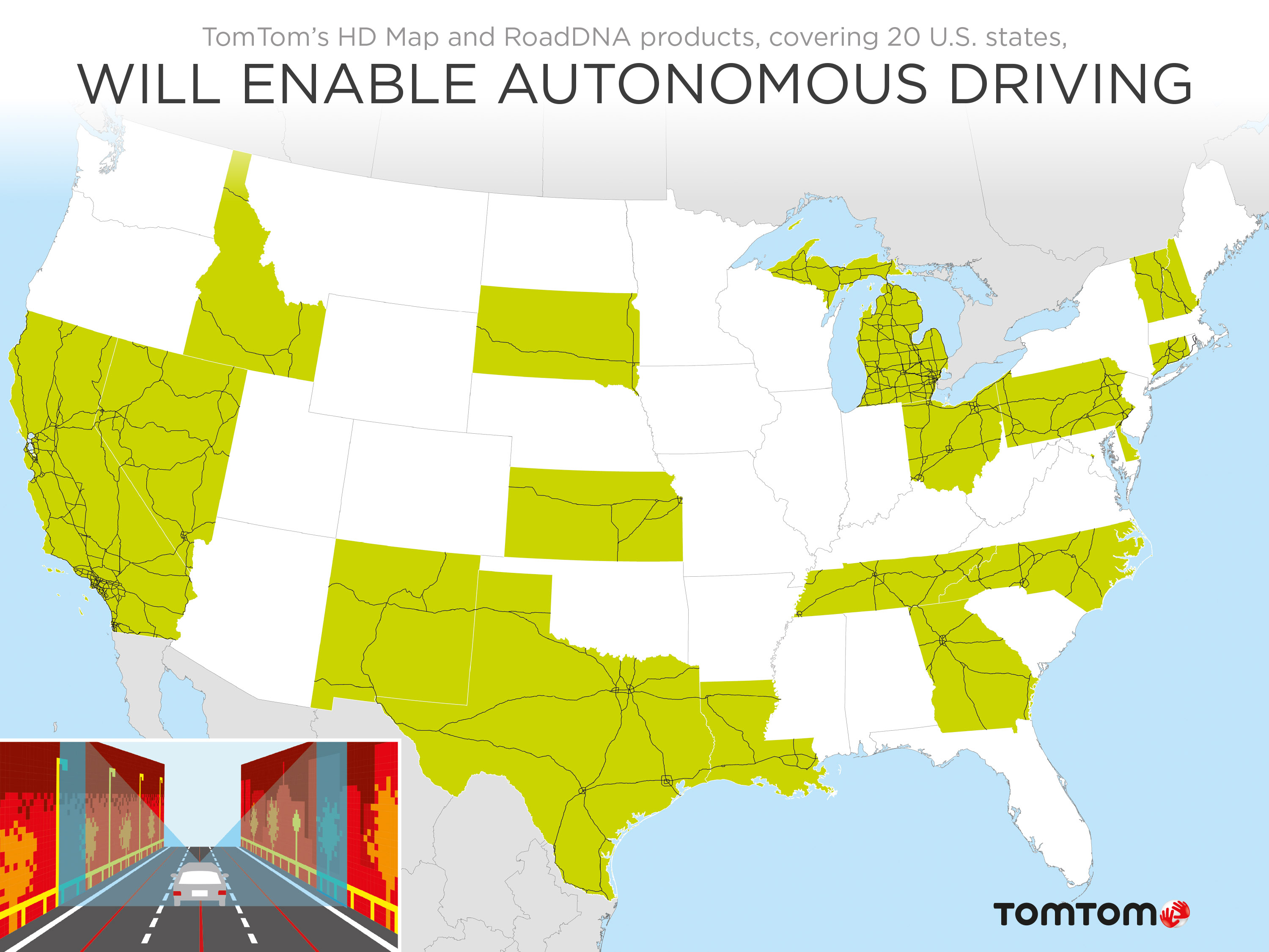 TomTom Launches HD Map RoadDNA For New States Business Wire - Us hd map