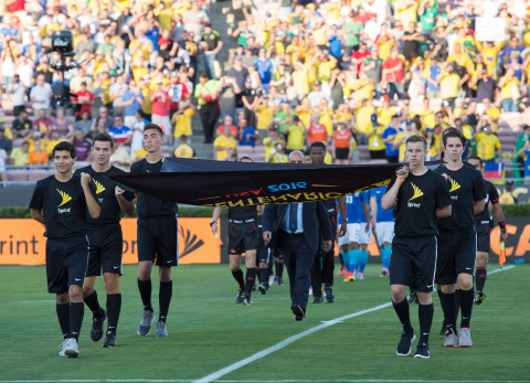 Flagbearers from Copa America on June 4, 2016. Brazil vs. Ecuador match in Pasadena, California. (Photo: Business Wire)