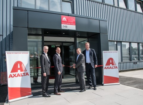 Opening Axalta's expanded European Technology Centre in Wuppertal, Germany are (from left to right) Robert K. Roop, Axalta Vice President of Refinish Technology, and Head of Technology Europe, Middle East and Africa; Barry Snyder, Axalta Senior Vice President and Chief Technology Officer; Charles Shaver, Axalta Chairman and CEO; and Matthias Schönberg, Axalta Vice President, and President Europe, Middle East and Africa. (Photo: Axalta)