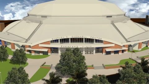 A drawing depicts plans to recognize the newly named Exactech Arena at the Stephen C. O'Connell Center, a sports and entertainment complex at the University of Florida in Gainesville, Fl. The remodeled facility is scheduled to re-open in December 2016. (Photo: Business Wire)
