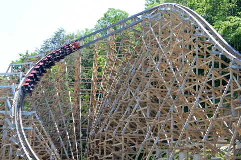 Dollywood's Lightning Rod races through the final ride element, the non-inverting, half-loop. (Photo: Business Wire)