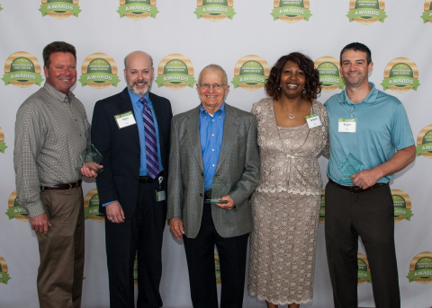 BGE Honorees from 2016 Homebuilder and Rater Awards (L to R): Craig Kehoe of Bob Ward Companies, Chris Walls of BGE, Jim Greenfield of Columbia Builders, Vanessa Morris of BGE, Bryant Airey of NVR. (Photo: Business Wire)