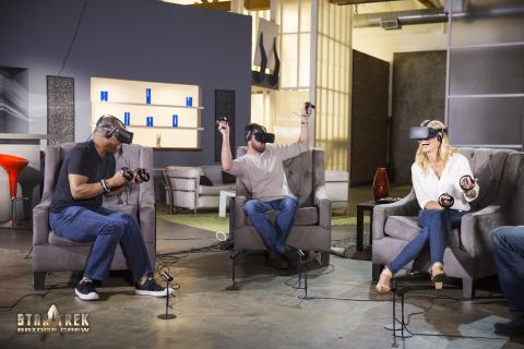 Star Trek actors LeVar Burton, Karl Urban and Jerri Ryan play Ubisoft's Star Trek: Bridge Crew, a new Virtual Reality (VR) game. (Photo: Business Wire)