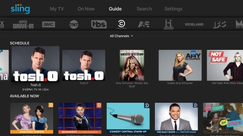 The Sling TV Guide feature in the new UI still allows viewers to find live and on-demand content by channel in one place. Sling TV launched 12 new channels from Viacom in the single-stream and beta multi-stream core packages and Extras, including Comedy Central, BET, Nick Jr., NickToons, TeenNick, MTV, Spike, MTV2, Logo, CMT, TV Land and VH1. (Photo: Business Wire)