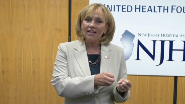 New Jersey Lt. Gov. Kim Guadagno speaks during a forum to raise awareness about the complexities of managing veterans' health where a $1.35 million grant between NJHA's Health Research and Educational Trust and United Health Foundation was announced to bolster veteran health programs and facilitate access to high-quality, community-based mental health, behavioral health and supportive services for veterans and military families in underserved areas of New Jersey (Video: Christopher Gregory).