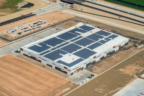 With the help of Blue Oak Energy, REI's latest solar system will offset 100 percent of the new distribution facility's annual electricity consumption, helping the company reach its goal of achieving a net zero operation. (Photo: Business Wire)