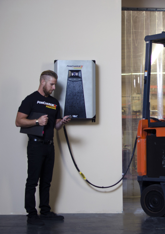 AeroVironment has developed the industry's first electric forklift charger to enable charger configuration and management via mobile app. (Photo: Business Wire)