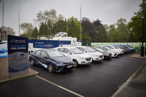 A collection of hydrogen powered cars (Photo: Business Wire)