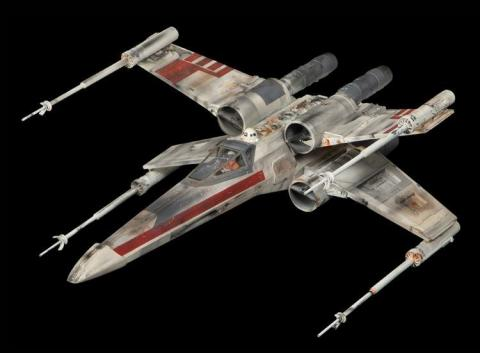"This original screen-used X-Wing Fighter miniature from ""Star Wars: Episode IV - A New Hope"" is being offered at auction by Profiles in History, with online bidding through Invaluable.com. (Photo: Business Wire)"