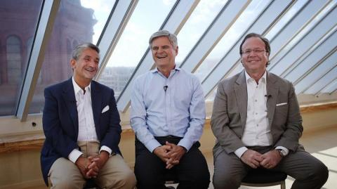Revolution Growth Founders Ted Leonsis, Steve Case, and Donn Davis at Revolution's Washington, D.C. headquarters. (Photo: Business Wire)