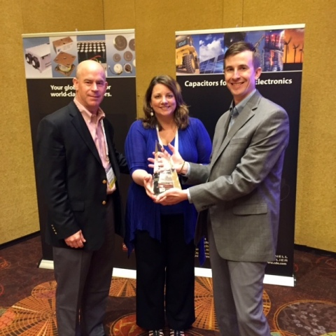 Cornell Dubilier Presents Digi-Key with Sales Growth Award 2015 - From left to right: Chris Beeson,  ...