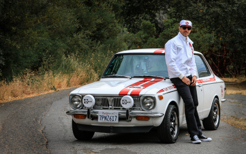 Jamie Bestwick and the 1970 Toyota Corolla (Photo: Business Wire)