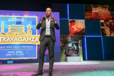 Dr. John Heiss, Herbalife's Senior Director of Sports and Fitness, Worldwide Product Marketing, unveils CR7 Drive in Asia Pacific. (Photo: Business Wire)