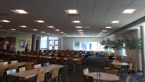 Lighting retrofit in the cafeteria at The Campus at Marlborough (Photo: Business Wire)