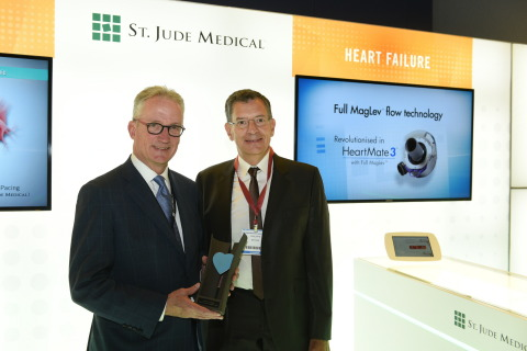 Dr. Mark Carlson, Chief Medical Officer at St. Jude Medical and Dr. Philippe Ritter, Chairman of CardioStim and Heart Rhythm Specialist at the University Hospital of Bordeaux. (Photo: Business Wire)