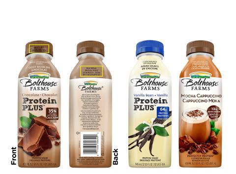Bolthouse Farms procède au rappel volontaire d'une sélection de ses breuvages protéinés, en raison d'une détérioration possible qui peut donner une apparence grumeleuse aux breuvages, un goût déplaisant et une mauvaise odeur. Le rappel affecte les breuvages Protein PLUS au chocolat de 450ml et 946ml, et les breuvages Protein PLUS à la fève de vanille (Vanilla Bean) de 946ml, dont la date d'expiration se trouve entre le 10 juillet 2016 et le 12 octobre 2016 (2016/JL/10 au 2016/OC/12) et les breuvages Mocha Cappuccino Perfectly Protein de 450ml/15,2oz dont la date d'expiration est le 2 août 2016 (2016/AU/02) et les breuvages Mocha Cappuccino Perfectly Protein de 946ml dont la date d'expiration est le 2 septembre 2016 (2016/SE/02). (Photo: Business Wire)