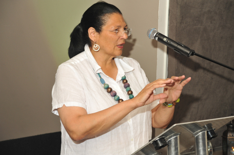 Anita DeFrantz speaking at the 2012 Humanitarian Award Ceremony in London. (Photo by Brian Russell Photography)