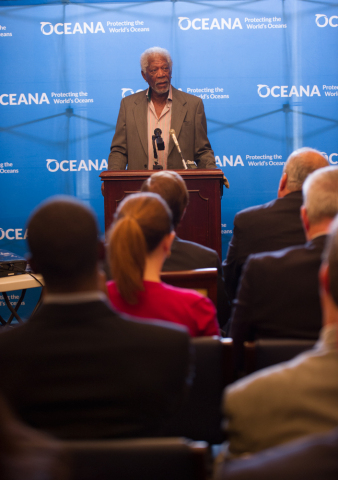 Morgan Freeman Joins Oceana and Members of Congress on Capitol Hill to announce the introduction of the Shark Fin Trade Elimination Act of 2016. (Photo: Business Wire)