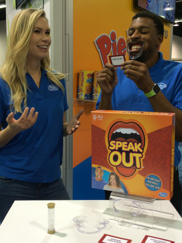 Hasbro launches the new SPEAK OUT game, which challenges players to say ridiculous things while wearing a mouth piece. (Photo: Business Wire).