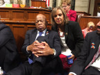 """Rep. Kelly shares a photo with Rep. Lewis during House Democrats sit-in on U.S. House floor on June 22, 2016. She tweeted, """"6 hours+ into the gun violence sit-in w/ @repjohnlewis. We will #holdthefloor until we get a vote #NoBillNoBreak"""""""