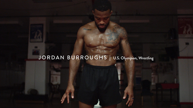 "2012 U.S. Olympic gold medalist Jordan Burroughs in Hershey's campaign, ""Hello From Home"""