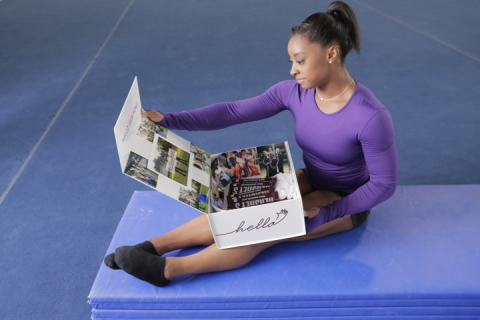 """The Hershey Company and its flagship brand, Hershey's, launched its first-ever Team USA-themed advertising campaign, """"Hello From Home,"""" an extension of their """"Hello Happy"""" campaign, with the announcement of three-time World All Around Champion gymnast and U.S. Olympic hopeful Simone Biles joining the Hershey's family. (Photo: Business Wire)"""