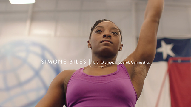 "Three-time World All Around Champion gymnast and U.S. Olympic hopeful Simone Biles in Hershey's campaign, ""Hello From Home"""