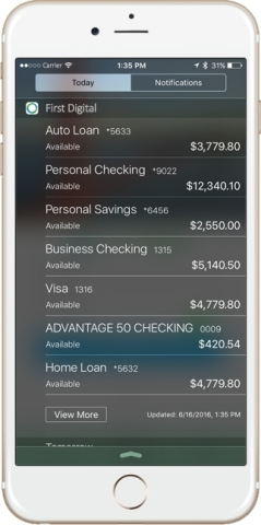 Widget for iOS devices will be able to show bank balances without signing on to mobile banking applications with technology by Digital Insight. (Photo: Business Wire)