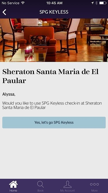 Approximately 24 hours before arrival, guests receive an invitation to opt into SPG Keyless. (Photo: Business Wire)