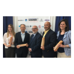 Project partners accepting the Environmental Leader Project of the Year Award on June 22, 2016. Pictured from left to right: Paige Janson from Ecova, Brodie Bruner from Weathermatic, Paul Nastu from Environmental Leader, Frank Inoa from Arby's and Helen Fairman from Powerhouse Dynamics. (Photo: Business Wire)